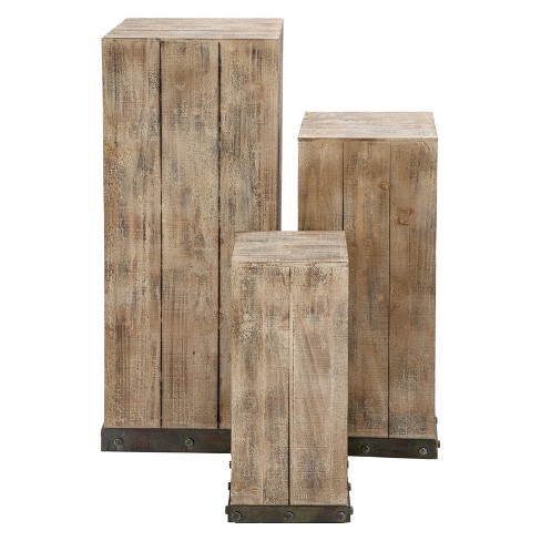 Wood Set Of 3 Square Pedestal Accent Tables Natural