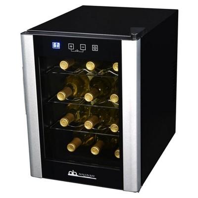 Avalon Bay 12 Bottle Wine Cooler - Black & Silver AB-WINE12S