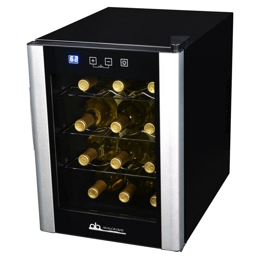 Image of Avalon Bay 12 Bottle Wine Cooler - Black & Silver AB-WINE12S