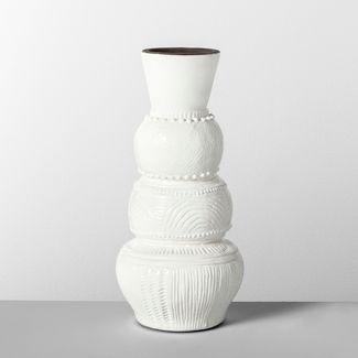 13u0022 x 6u0022 Etched Terra Cotta Vase White - Opalhouse™