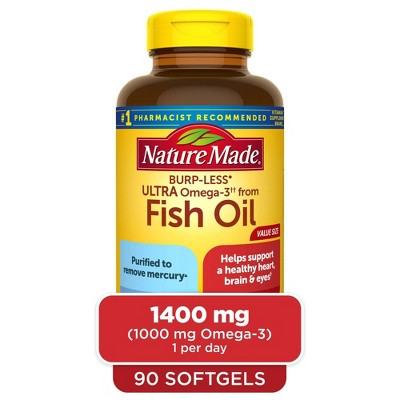 Nature Made Burp - Less Ultra Omega - Fish Oil 1400 mg Softgels - 90ct