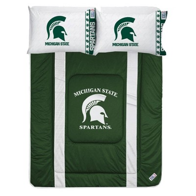 NCAA King Bedding Set College Football Team Logo Bed - Michigan State Spartans..