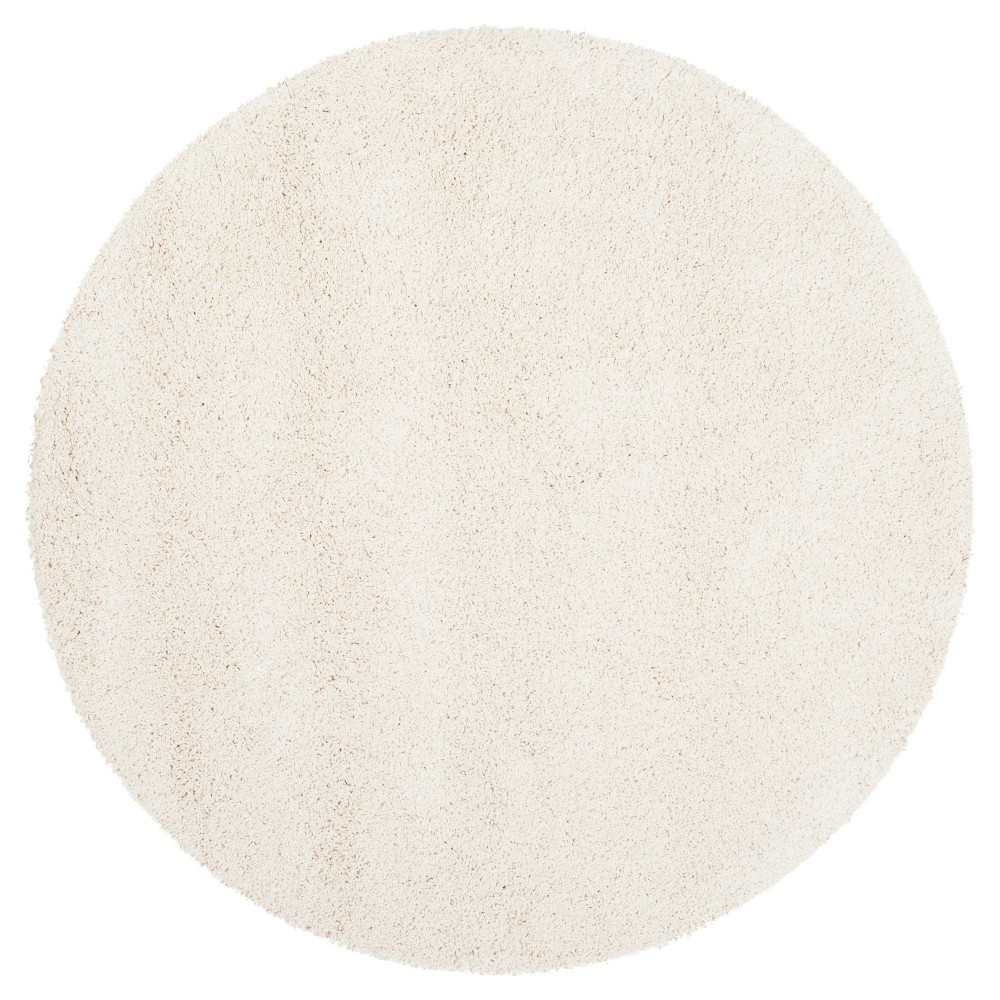 Ivory Solid Shag/Flokati Loomed Round Accent Rug - (3' Round) - Safavieh