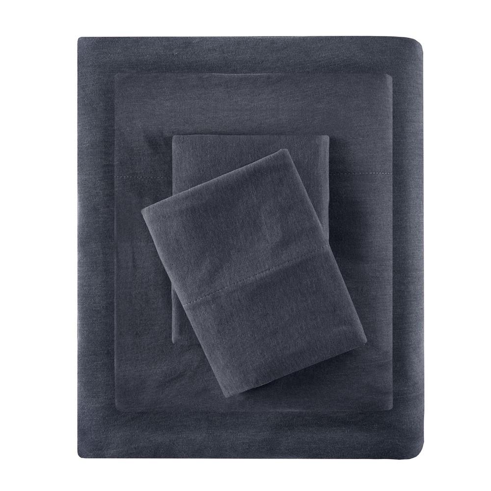 Queen Cotton Blend Jersey Knit All Season Sheet Set Dark Gray, Dark Grey