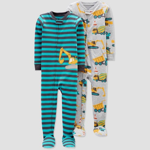 Toddler Boys' 2pk Striped Construction Footed Pajama - Just One You® made by carter's Gray/Blue - image 1 of 1