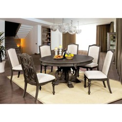7pc Darja Round Dining Table Set Brown - HOMES: Inside +Out