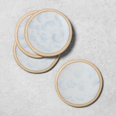 4pk Stoneware Reactive Exposed Rim Coaster Set Blue - Hearth & Hand™ with Magnolia