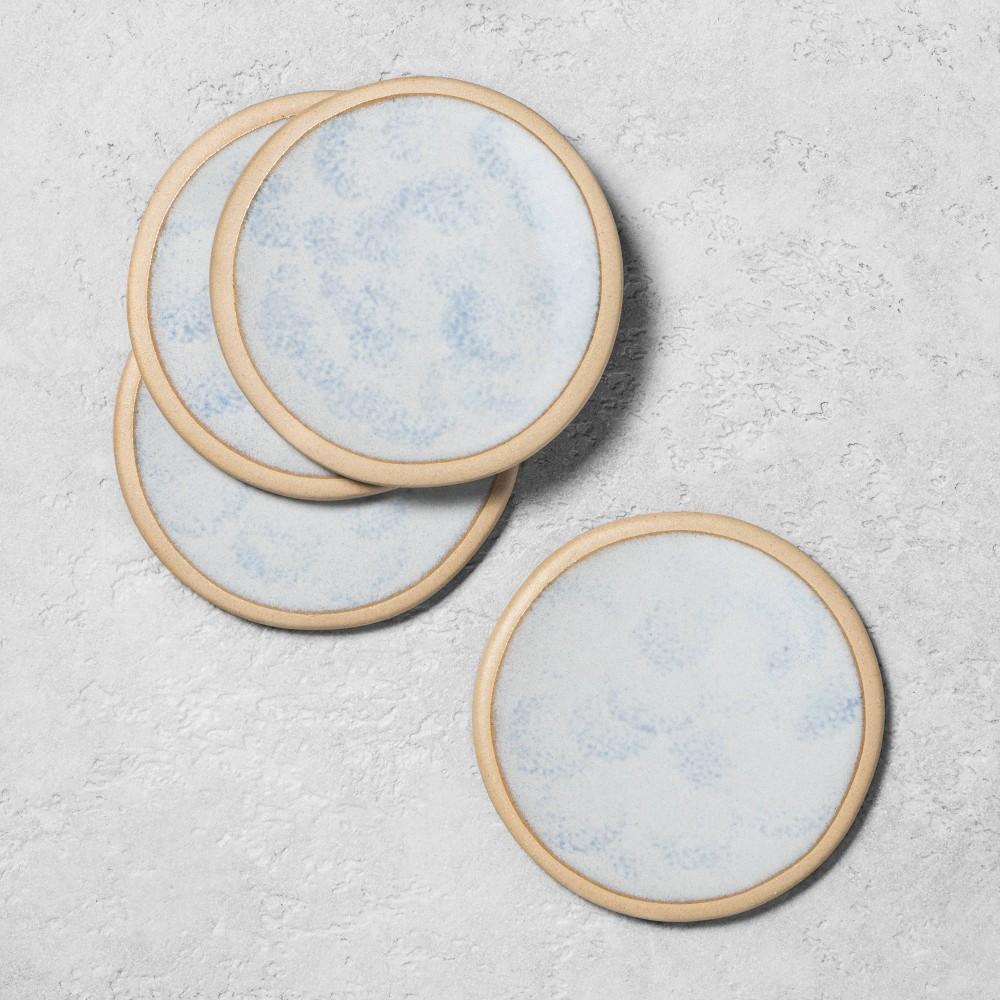 Image of 4pk Stoneware Reactive Exposed Rim Coaster Set Blue - Hearth & Hand with Magnolia