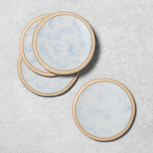 4pk Stoneware Reactive Exposed Rim Coaster Set Blue - Hearth & Hand™ with Magnolia - image 1 of 3