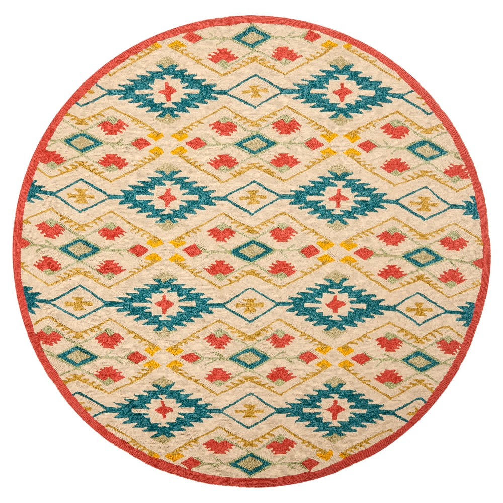 Natural/Blue Shapes Hooked Round Area Rug 6' - Safavieh