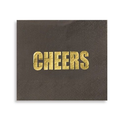 Blue Panda 100-Pack Black Gold Foil Cheers Disposable Paper Napkins Party Supplies, 5 x 5 In