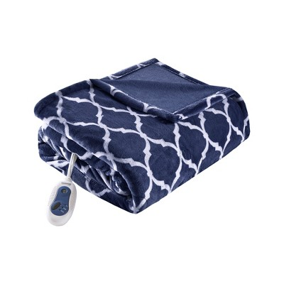 Electric Ogee Printed Oversized Throw 60x70  Dark Blue - Beautyrest