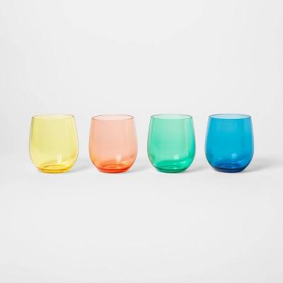 14oz 4pk Stemless Wineglasses - Sun Squad™