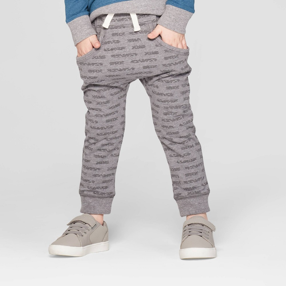 Toddler Boys' Slouchy Kanga Front Pockets Jogger Pants - Cat & Jack Heather Gray 12M