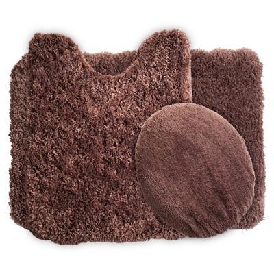 Solid Super Plush Non-Slip Bath Mat Rug Set 3pc Chocolate - Yorkshire Home