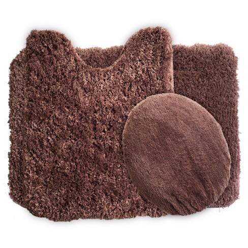 Solid Super Plush Non-Slip Bath Mat Rug Set 3pc - Yorkshire Home
