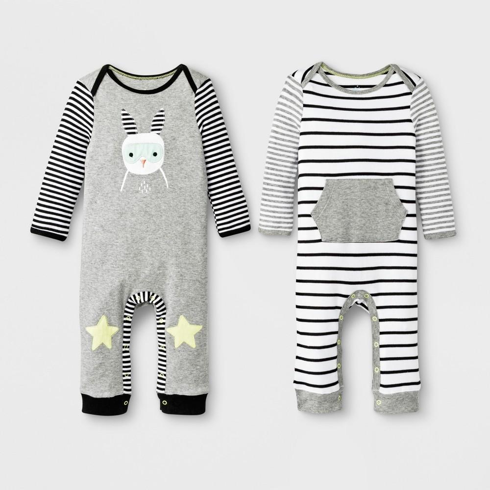 Baby 2pc Stripe/Rabbit Romper Set - Cloud Island Gray Newborn, Newborn Unisex, White