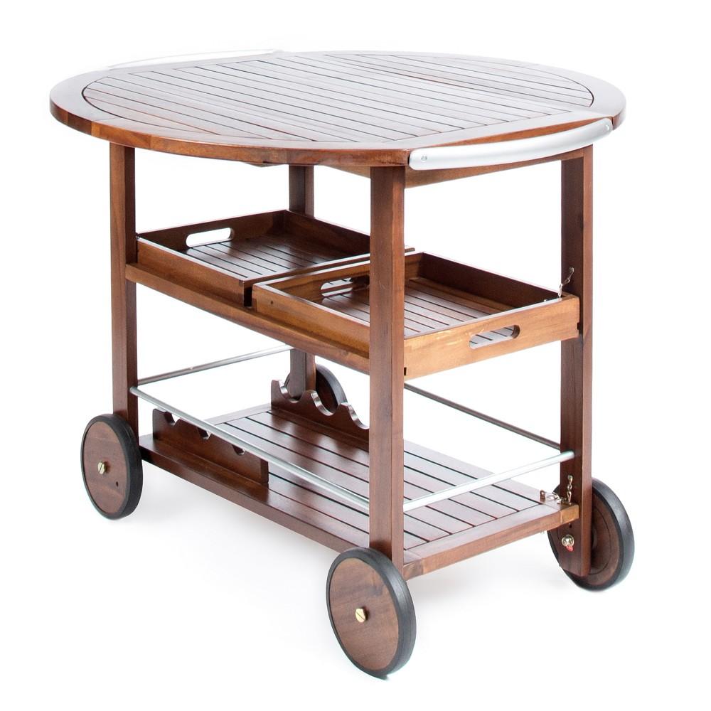 Cynthia Farmhouse Wooden Bar Cart Dark Oak Brown - Christopher Knight Home