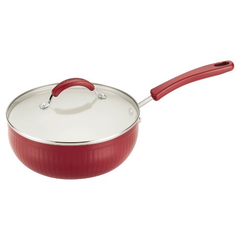 Farberware New Traditions 3.5 qt Covered Chef Pan - Red Scallop - image 1 of 5