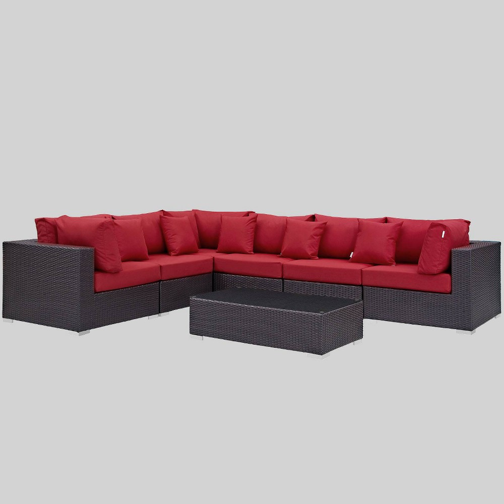Convene 7pc Outdoor Patio Sectional Set - Red - Modway