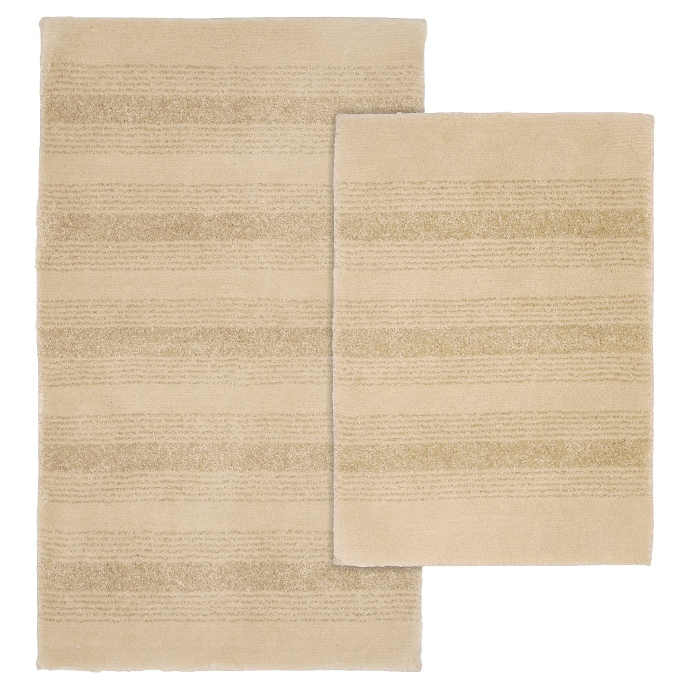 Image of Garland 2 Piece Essence Washable Nylon Bath Rug Set - Linen