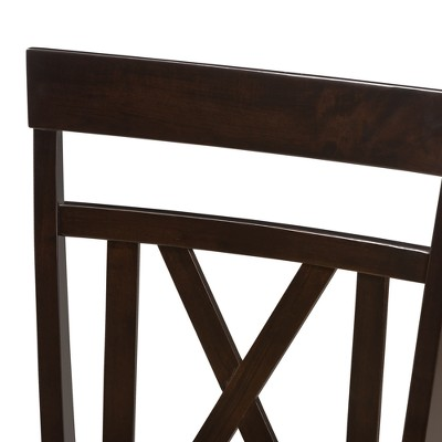 Set Of 2 Rosie Modern And Contemporary Faux Leather Upholstered Dining Chairs Dark Brown - Baxton Studio : Target