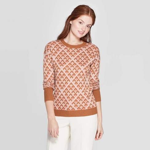Women's Geometric Patterned Long Sleeve Ribbed Cuff Crewneck Pullover Sweater - A New Day™ Orange - image 1 of 3