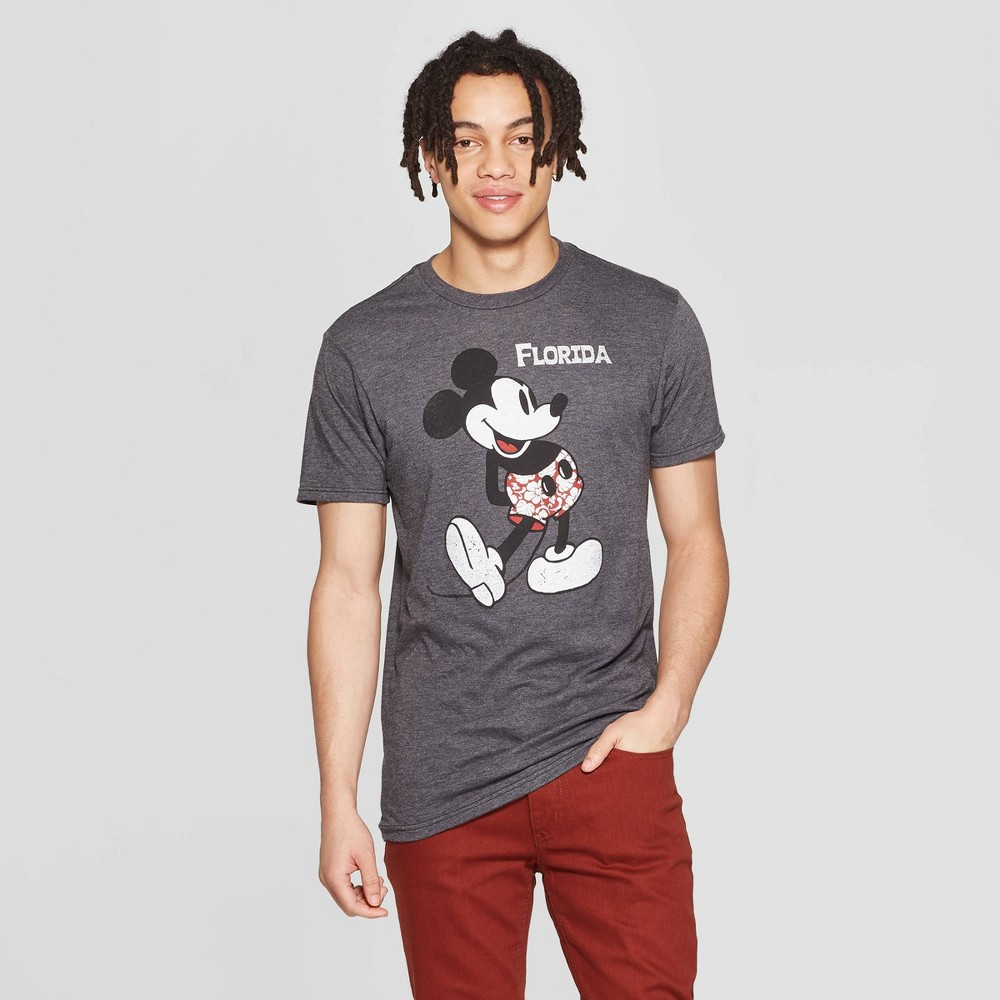 Men's Mickey Mouse Short Sleeve Crewneck Graphic T-Shirt - Awake Gray S