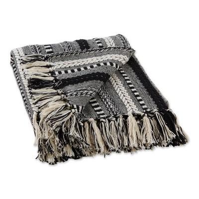 "50""x60"" Braided Striped Throw Blanket Black - Design Imports"