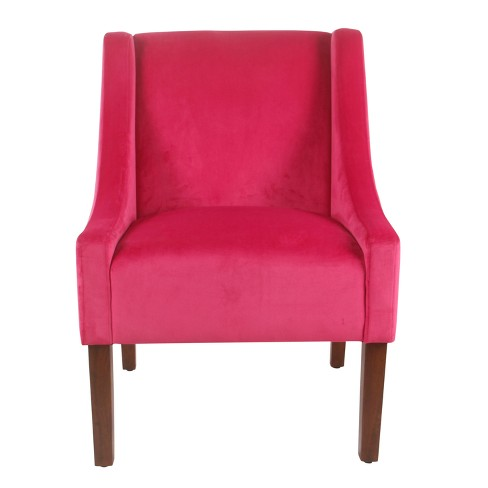 Modern Velvet Swoop Arm Accent Chair Pink - Homepop