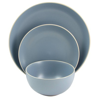 Gibson Home 12pc Stoneware Rockaway Matte Dinnerware Set Blue