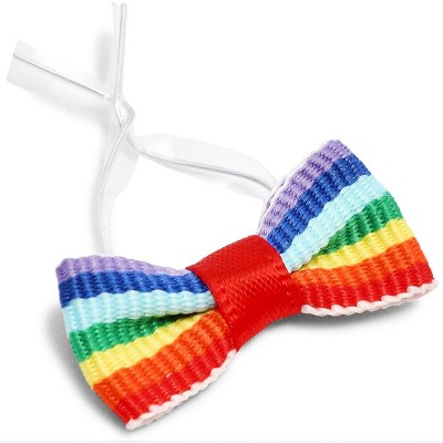 """Bright Creations 3"""" Mini Pride Rainbow Satin Bow Twist Ties with Clear Twist Ties for Treat Bags and Gift Package, 200 Pack"""