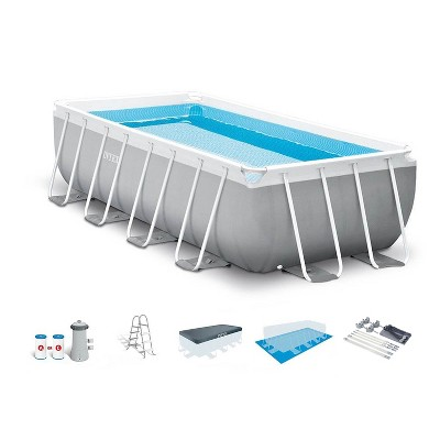 Intex 16 Foot x 42 Inch Frame Rectangular Above Ground Swimming Pool Set with Filter Pump, Ladder, Ground Cloth, Protective Canopy, and Pool Cover