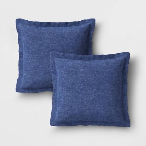 2pk Woven Outdoor Throw Pillows, Outdoor Blue Pillows
