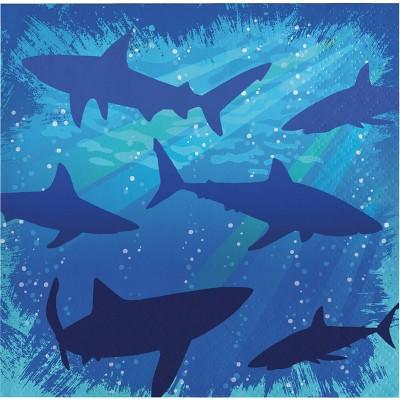 48ct Shark Splash Beverage Napkins Blue