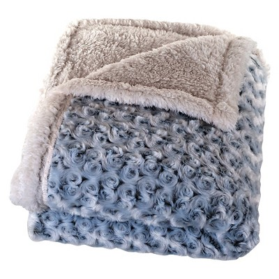 Gray Plush Flower Fleece Sherpa Backed Throw (50 X60 )- Yorkshire Home