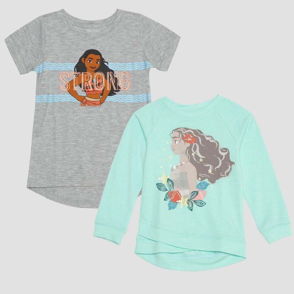 Toddler Girls' 2pk Disney Moana Long Sleeve and Short Sleeve T-Shirts - Green/Gray 4T