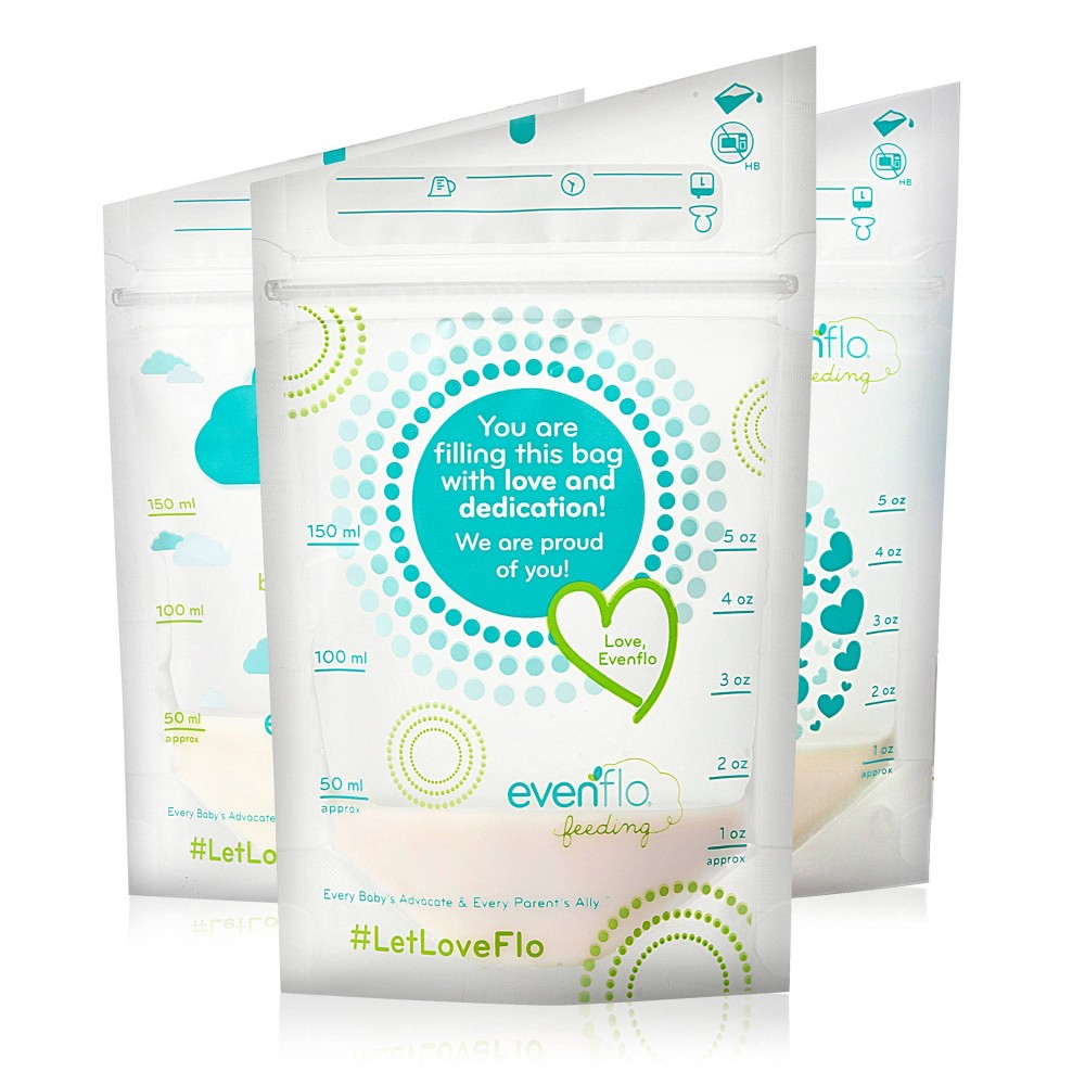 Image of Evenflo Advanced Breast Milk Storage Bags 5oz, 50ct, Clear