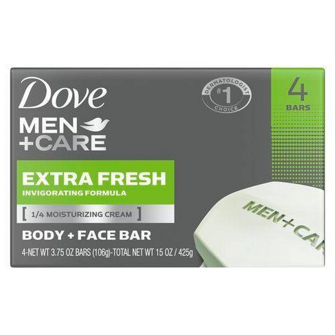 Dove Men Care Extra Fresh Body And Face Bar Soap 3 75oz 4ct Target