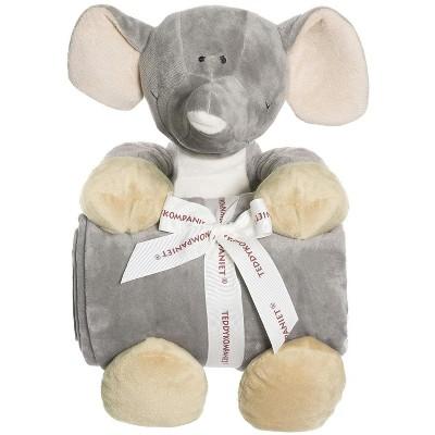 TriAction Toys Teddykompaniet Diinglisar Collection 11 Inch Plush Elephant and Blanket Set