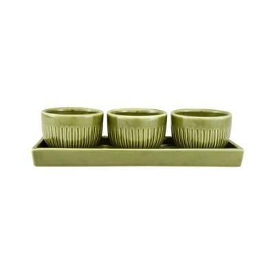 Zak Designs Green Stoneware Condiment Bowl Set 4 Piece