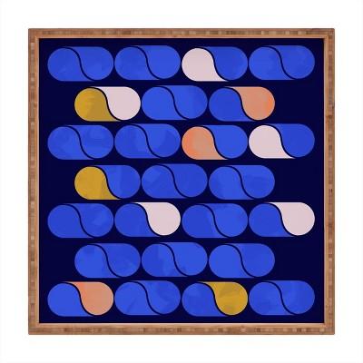 "13"" Wood Showmemars Modern Pattern Small Square Tray Blue - society6"