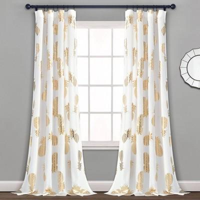 Pineapple Toss Window Curtain Panels - Lush Décor