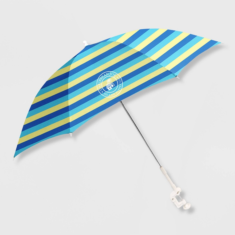 Image of Caribbean Joe Outdoor Beach Stick Umbrella - Blue/ Yellow, MultiColored