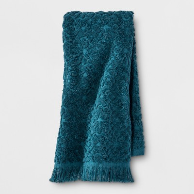 Perfectly Soft Embossed Hand Towel Teal Blue - Opalhouse™
