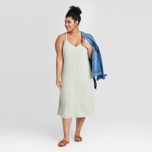 Women's Plus Size Sleeveless Slip Dress - Universal Thread™ Green - image 1 of 3