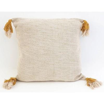 """20""""X20"""" Bradford Two Tone Tassel Pillow Yellow - Decor Therapy"""