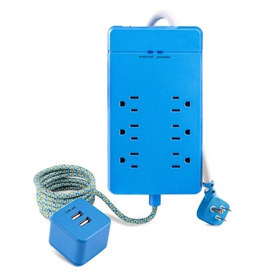 heyday™ 6 Outlet Surge Protector with 2 USB Port Hub - Blue