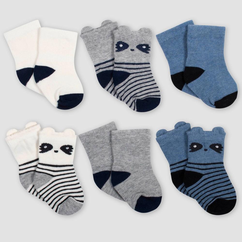Image of Gerber Baby Boys' 6pk Raccoon Wiggle Proof Crew Socks - Blue/Gray 0-6M, Boy's, Size: Small
