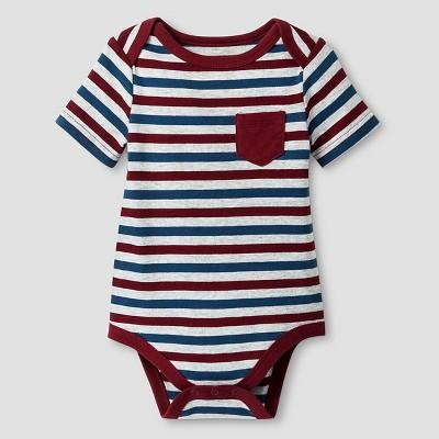 Baby Boys' Short Sleeve Stripe Bodysuit Cat & Jack™ - Deep Red/Gray Newborn